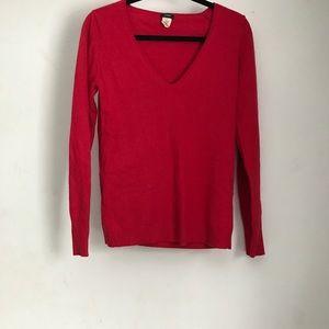 J. Crew V Neck Wool Cashmere Blend Sweater